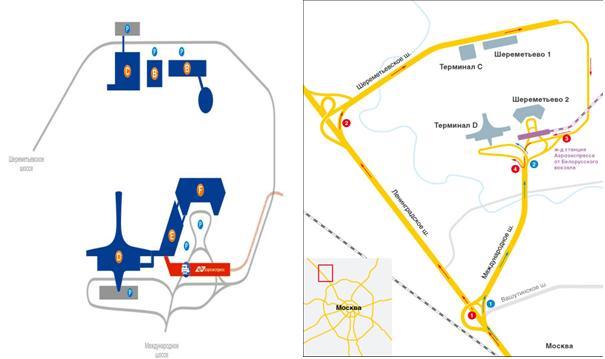 Схема подъезда к терминалу шереметьево-3